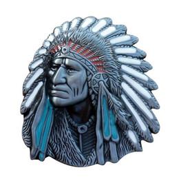 Wholesale Native American Fashions - Old West Indian Warrior Chief belt buckle biker motorcycle Native American fashion zinc alloy rings suit for 4cm width belt
