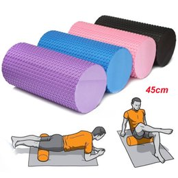 Wholesale Foam Block Black - Wholesale-Yoga foam roller EVA 45cm for yoga pilates trainning fitness rollers with trigger points Muscle relaxation 6 colors