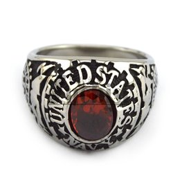 Wholesale Cheap Band Rings Stones - New!!! 2016 Lastest Design Unique Stainless Steel Ring With A Red Stone Top Quality & Cheap Price US Navy Stone Ring