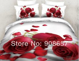 Wholesale Comforter Wedding Twill - 2014 new wedding bedding red rose petal flower prints comforter cotton queen full size duvet covers set 4pc 5pc girls bedclothes