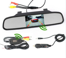 "Wholesale Wireless Rearview Camera Transmitter - 4.3"" Inch Car Rearview Mirror Monitor Built-in Video Receiver Kit + 2.4GHz Wireless Video Transmitter Kit For Rear View Camera"