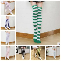 Wholesale Wholesale Thigh - 21 Colors Striped Knee High Socks for Big Girls Adult Japanese Style Zebra Thigh High Socks Spring Stockings 2pcs pair CCA7139 300pair