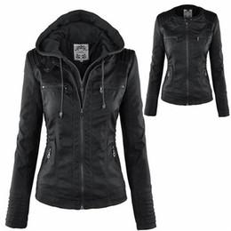 Wholesale Plus Size Woman Leather Jacket - Top Selling 5 Colors Women's PU Leather Jacket Hooded Lapel Zipper Pockets Removable Jackets Coat Plus Size S-7XL CL033