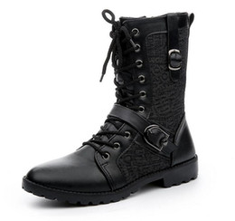 Wholesale Combats Shoes - Fashion Men's Winter Mid-Calf Boots,Black Punk Leather Side Zipper Lace-Up Shoes,Martin Cowboy Combat Army Boots,US Size 6.5-10
