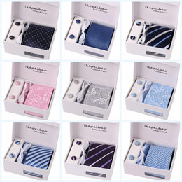 Wholesale Cufflinks Box Sets - Wedding mens neck tie set with tie clip and cufflinks & kerchief 1 set per lot Multicolor,Stripes,Floral,Plaid,for choice packed by gift box
