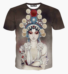 Wholesale China Man Casual - High Quality China Style Women's T-shirt 3d summer tops printed Beijing opera actor Casual t shirt short sleeve tees clothing