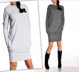 Wholesale Cheap Buttons For Clothing - Nice Spring Casual Dresses For Womens Long Sleeve V-neck Vintage Dress Slim Cheap Womenƶs Clothing Black Gray White 3 Colors Dress