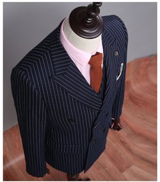 Wholesale Green Blazer Jacket Men - (Coat+Pants+Vest) Double Breast Navy Blue Mens Striped Suits Formal Wear Male Wedding Tuxedos NA02 Blazer Suit Jacket Blue Men