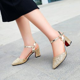 Wholesale High Heel Shoes Gold Paillette - 2016 autumn big size 33-43 gladiator high chunky heel pointed toes paillette solid buckle strap lady casual shoes women sandals 6022