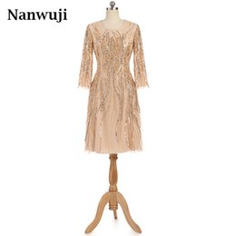 Wholesale Muslim Bride Models - 2017 Champagne Long Sleeve Muslim Short Knee Length Mother of the Bride Dress Evening Dress Wedding Party Dress