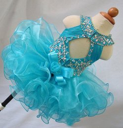 Wholesale Glitz Cupcake Dress Cheap - Real Image Blue Beads Ruffles Cheap Toddler Little Girls Pageant Dresses Organza Glitz Ball Gown Infant Cupcake Flower Girls Gowns