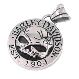 Wholesale Stainless Steel Skull Jewelry Wholesale - Free shipping! Cool Silver Skull Biker Pendant Stainless Steel Jewelry Classic Motor Biker Skull Men Pendant