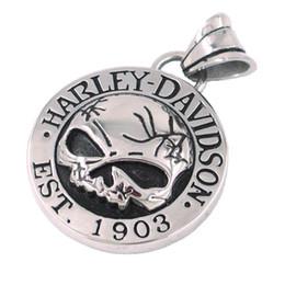 Wholesale Biker Jewelry Silver - Free shipping! Cool Silver Skull Biker Pendant Stainless Steel Jewelry Classic Motor Biker Skull Men Pendant