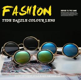 Wholesale vogue brand glasses - 8 Colors Round Sunglasses Personality Sunglasses for Unisex Luxury Brand Designer Vogue Glasses Winderproof Eyewear CCA7749 20pcs