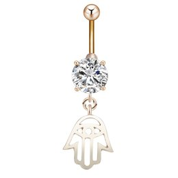 Wholesale Lucky Stainless Steel Ring - Fashion Lucky Lady Hands Hollow Out Hand Hamsa Belly Ring,Body Piercing Jewelry Animal Belly Button Rings Charm Hand Navel Rings