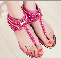 Wholesale Beaded Flat Sandal - The new 2016 Bohemian set auger sandals Beaded sandal thong sandals women National wind flat Casual sandals