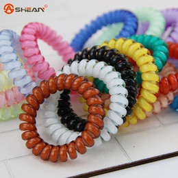 Wholesale Spring Hair Elastic Band - Candy Colored Telephone Line Hair rope Fashionable Gum Elastic Ties Wear Hair Ring Spring Rubber Band Accessory Maker Tools Mix Color