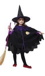 Wholesale Cartoon Hat For Party - Girl Sorceress Cosplay costume two-piece sets cloak+hat Witch clothing for girls new years christmas Halloween performance party EMS DHL
