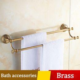 Wholesale Double Brass Towel Bar - Bathroom Dual Towel Rack 60cm Toilet Towel bar Wall Shelf Set Multiple carving Thickened Pedestal Archaistic Brass Hardware Accessories Suit