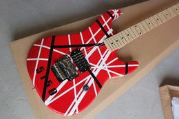Wholesale Edward Van Halen - Custom Rare Guitar Edward Van Halen 5150 Black White Stripe Red Electric Guitar Floyd Rose Tremolo Bridge Top Selling