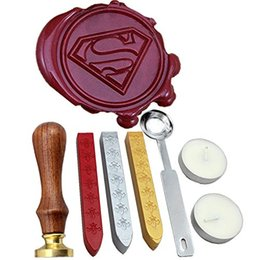 Wholesale Wax Picture - Custom Picture Wedding Invitation Superman Wax Seal Stamp Kit Gift Box Set