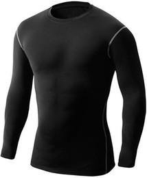 Wholesale Long Workout Tops - Men's Compression Shirts Running Cycling Baselayer Workout Fitness Training CrossFit Sports Breathable Skinny Long Sleeve Tops