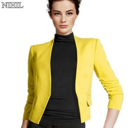 Wholesale Three Quarter Jacket Pleated - Wholesale- Fashion Women Short Coats 2016 Spring New Candy Color Casual Jackets Three Quarter Sleeve Black Slim Design Outwear Lady Suits