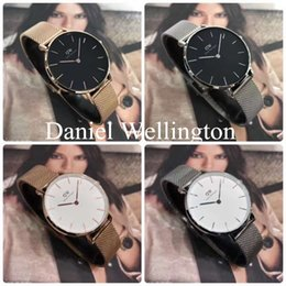 Wholesale Lady Watches Silver Gold - Luxury Brand Daniel watches 32mm Women Quartz Watch Gold Silver Design Ladies Watches Female Clock Relogio Montre Femme With Original bo