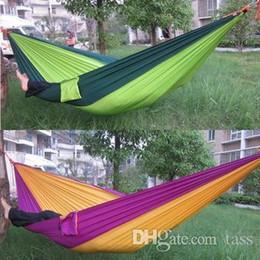 2019 cores hammock atacado Frete Grátis Portátil Parachute Camping Outdoor pessoa Dupla HAMMOCK muito macio 260 * 140 CM Max Loading 150 KG