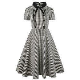 Wholesale long sleeve vintage plaid dress - Elegant Women Peter pan Collar with Bow Short Sleeve Plaid Dress A-Line Midi Length Vintage Swing Dress Vestidos