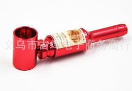 Wholesale Tobacco Stems - Free shipping---Exquisite mini cigarette outlet pipe, Ms. red bottle pipe, small tobacco stems, color random delivery