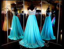 Wholesale Long Aqua Beaded Prom Dress - One Shoulder Aqua Chiffon Open Back Long Prom Dress Empire Waist Beading Top Sexy Evening Dress A-line Pageant Dress