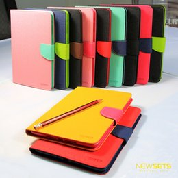 Wholesale Ipad2 Leather Cases - Mercury Leather Cover for iPad Mini4 Flip Wallet Pattern Protective Stand Case with Retail Package ipad1 2 3 ipad2 3 4 ipad5 6