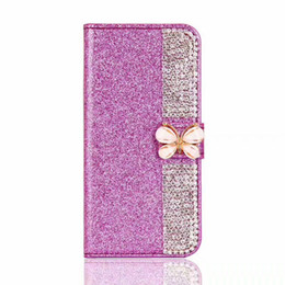 Wholesale Diamond Bling Bow Case - For Motorola Moto G4 Plus E4 G5 Plus Brand New TPU Bling Bling Rhinestone Diamond Leather Wallet Case Glitter Pouch Shinny Bow Cover