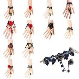 Wholesale Gothic Cameo - 1Pc Gothic Lolita Cameo Black Lace Flower Chain Bracelet Ring Set Women Jewelry