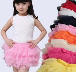 Wholesale Layered Tutu Child Skirt - summer girls ball fluffy princess skirt children baby tulle layered tutu short party clothes skirts L001