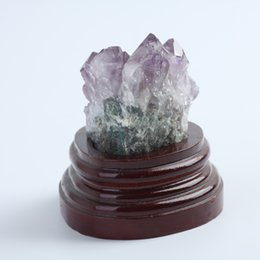 Wholesale Base Energy - HJT Wholesale 300g Pure Natural Amethyst Crystal Cluster healing chakra Reiki spirit energy stones Free shipping with base