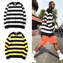 Wholesale Hole Cardigans - 2018 NEW OVERSIZE Black yellow stripes Joining together hole nick men sweater hip hop GD Fashion Casual sweater M-XL
