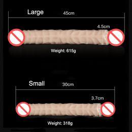 Wholesale Silicone Penis - 45cm Super Long Soft Flexible Double Heaed Dildo, Realistic Penis Artificial Double Ended Dildo Lesbian Erotic Toys Sex Product
