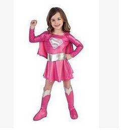 Wholesale Super Man Costumes For Girls - children hot pink superman girl dress cosplay party superhero girl costume halloween costumes for girl Super girls costume DDA2925 10sets