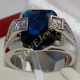 Wholesale Sapphire Rings China - Men's 925 Silver Blue Sapphire CZ Gem Stone Emerald-cut Ring