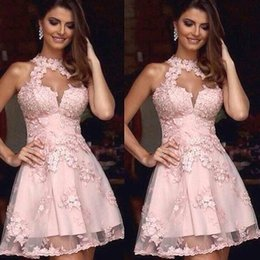 Wholesale Peach Cocktails - 2016 New Peach Pink Hollow Sexy Homecoming Dresses Halter A Line TUlle With Lace Appliqued Short Cocktail Prom GOwns