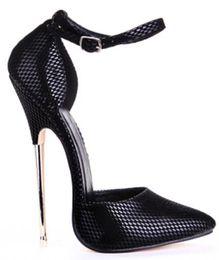 Wholesale Ve Pump - Hot! Black White PU Pump EXTREME High HEEL 16CM Metal Heel Women Shoes Sexy Fetish Heels Sexy Buckle Strap Pump D' Orsay