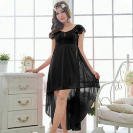 Wholesale Girl S Pajamas - Wholesale-Free shipping women black lace sexy nightdress girls pajamas plus size long Sleepwear nightgown night dress skirt M1810-4