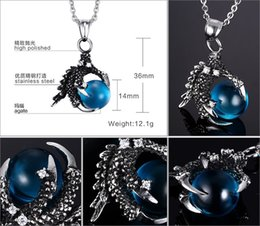 Wholesale Jade Ball Necklace - Stainless steel Dragon Wrap Inlaid Ball with color RED BLUE BLACK Agate necklace Jade Gems Charm Pendant Bead For Necklace