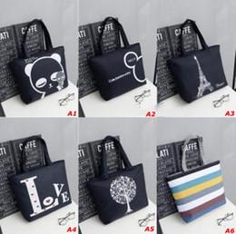 Wholesale Girls Large Shopping Bags - Girl Casual Summer Canvas Shopper Shoulder Bag Striped Beach Bags Large Capacity Tote Women Ladies Casual Shopping Handbag Bolsa Free Shiing