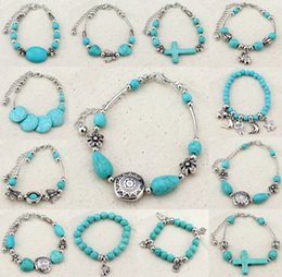 Wholesale European Beads Turquoise - New fashion jewelry Wholesale Fashion Jewelry Bohemia 12 styles charm Bracelets & Bangles for women European Beads bracelet