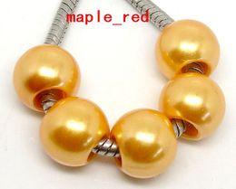Wholesale Orange Pearl Bracelet - 100PCS  lot orange PImitation Pearl Charms for Jewelry Making loose European Big Hole Acrylic Beads Fit European Bracelet Low Price
