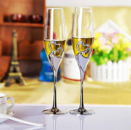 Wholesale Wedding Crystal Champagne Glass - Crystal Wedding Toasting Champagne 2pcs set Silvear Plated Flutes Glasses Cup Wine Glasses Goblet Party Decorations OOA2494