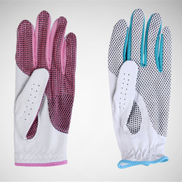 Wholesale Genuine Leather Gloves Wholesale - Women Genuine Leather Golf Gloves Soft Nonslip Breathable Sheepskin Golf Accessories Womens Breathable Golf Sport Gloves